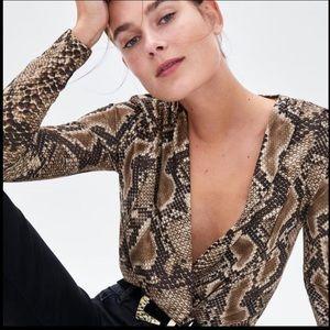 Zara Snake Print Wrap V Neck Long-sleeve Bodysuit